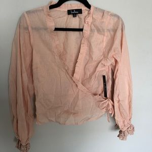 Pink Wrap Top Blouse